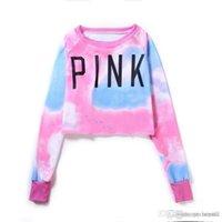 Wholesale Letter Navel - VS Love Pink Hoodies Peach Heart Love Exposed Navel Women Hoodies Pink Blue Thickening Slim Sweatshirt Tracksuits Clothing