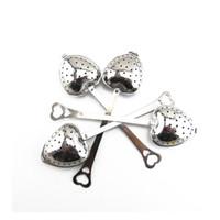 Wholesale Ceramic Teaspoon - 200 pcs lot Hot Amazing Love Heart Shape Style Stainless Steel Tea Infuser Teaspoon Strainer Spoon Filter Kitchen Tool ZA1094