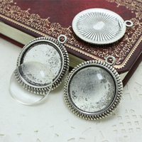 Wholesale Silver Ring Blank Cameo - Sweet Bell Antique silver Alloy Cameo Setting Blanks 32*37mm(Fit 25mm) Round Pendant Setting+Clear Glass Cabochons A4126-2