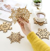 Wholesale Wood Placemats - Wholesale-ZAKKA Snowflake Wood Coasters Cup Mat Placemats for Table Decorations Great Gifts 10pcs lot SQ163