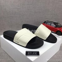 Wholesale leather spools - Free Shipping Raf Simons Slides Mens Slippers Raf Simons Black White Slippers for sale Size 40-44