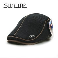 Wholesale Knitted Hat Buckle - Wholesale-Autumn Winter Beret Buckle Hat For Men Women Visors Thicken Leisure Outdoor Wool Warmer Knitted Cap Casquette Boina Masculina