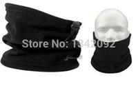 Wholesale Scarf Beanie One - Wholesale- 20pcs lot Black Unisex Polar Fleece Neck Warmer Snood Scarf Hat One Layer Beanie Cap