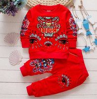 Wholesale Girls 2pc Set Casual - 3colors 2017 New autumn Baby Clothing Sets 2PC suits fit 0-4years Round-neck Baby Shirt+Pants 100% Cotton Baby boys girls Tracksuits 6set DD
