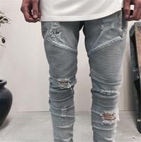 Wholesale Men S Chinese Clothing - Wholesale-represent clothing designer pants slp blue black destroyed mens slim denim straight biker skinny jeans men ripped jeans 28-38