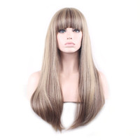 Wholesale Flax Color - WoodFestival women full wigs mix color long straight wig ombre heat resistant fiber wig synthetic flax blonde