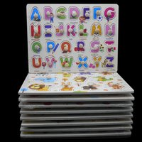 Wholesale Learning Jigsaw Puzzle Wholesale - Wholesale- 30 CM Kid Early educational toys baby hand grasp wooden puzzle toy alphabet and digit learning education child wood jigsaw toy