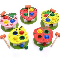 Wholesale Toy Baby Fruit - 1 Pc Cute Wooden Multi-functional Fruit Knockout Table Educational Toy Mini Knocking Balls Table Birthday Christmas Gift Baby Toys Set