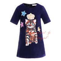 Wholesale Girl Cat Dress - Pettigirl Fashion Leisure Girls Black Dresses Crown Cat Pattern Short Sleeve Dresses For Kids Daily WearG-DMGD908-837