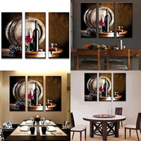 Vente en gros-3Pcs / Set Modern Still Life Barrel Peintures de vin Art de mur Home Restaurant Decor