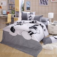 Wholesale Minnie Mouse Queen Comforter - 3 4pcs Black White mickey and minnie bedding set Cartoon mouse Duvet Cover Boys Girls Bed Sheet Pillowcase Twin king queen size