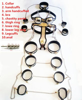 Wholesale Handcuffs Chastity - Stainless Steel male chastity device 10pcs set chastity cage bondage restraints male chastity belt handcuffs adult sex slave