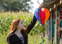 Wholesale Balloon Sizing - 2017 hot gift Windspiration Hot Air Balloon Twist Garden Wind Spinner, Sunrise, garden decorate , mix color , big size
