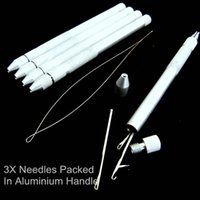 Wholesale Wholesale Knitting Needle Holders - Wholesale-1 Set Hair Extension Tools Knitting Needles New 3x Hooking Ventilating Alum Pulling Needle + Holder KIT For Micro Ring Tool