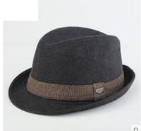 Wholesale Brown Hard Hats - Men Jazz Hat Spring Summer Autumn Winter Women Men Jazz Hard Felt Bowknot Fedora Panama Bowler Wide Brim Hat Gangster Cap Free Shipping
