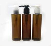 Wholesale brown pet bottles - 30 X 150ml Outdoors Amber PET lotion Pump bottle 150cc Brown Plastic Bottles with Pump Shampoo Container
