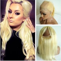 ingrosso chiusura a base di seta bionda-Indian Virgin Hair Blonde 360 Silk Base 360 Full Lace Band Frontal #613 Bleach Blonde Pre Plucked Silk Straight 360 Lace Frontal Closure