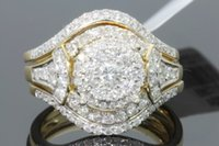 10K YELLOW GOLD 1.28 WOMENS REAL DIAMOND ENGAGEMENT ANELLO FEDE BAND SET