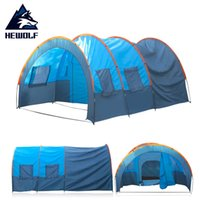 Wholesale Hall China - Wholesale- (Ship From Russia & China) Hewolf Quick Installation 2 Room 1 Hall 5 Window 8-10 People Waterproof Outdoor Fishing Camping Tent