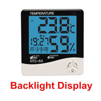 Wholesale Thermo Hygrometer Digital Clock - Digital Luminous Thermo-hygrometer Indoor Thermometer Hygrometer Meter Clock With LCD Backlight Thermo-hygrometer With Date Time For HTC-8A