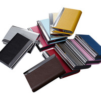Wholesale Stainless Steel Business Card Holder With PU Leather Various Colors Metal Fancy Quality Name Card Holder