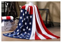 Wholesale full bedsheet - Wholesale 150*200cm Multifunction Blanket Throw Sofa Cover Single Bedsheet Throws Flannel fleeceBritish American Flag Plaid