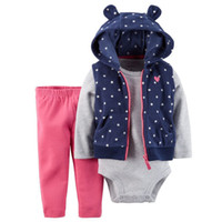 Wholesale Cartoon Baby Vest Romper - Wholesale- New Brand 3 Pieces Baby Girl's Set Cartoon Zipper Sleeveless Cotton Warm Cute Polka Dot Vest +Full Sleeve O-Neck Romper+Pants