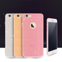 Wholesale Cheap Case Iphone Diamond - Cheap Bling Crystal Diamond Grid Pattern Slim Ultrathin Soft TPU Rubber Case Clear Transparent Jelly Back Cover for iPhone 5S 6 6S 7 Plus