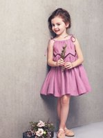 Wholesale Summer Kids Dresses Skirt Girls Pleated Mosaic Chiffon Skirt Purple Cotton Princess Dress Dress