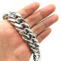 Wholesale Stainless Steel Cowboy Bracelet - Wholesale-20mm Huge&Heavy Mens Boys Fashion Polishing Bangle Cowboy Classics Bracelet Chain 316L Stainless Steel New Gift Free Shipping