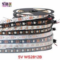 pixel dc großhandel-DC5V einzeln adressierbar ws2812b LED-Streifenlicht weiß / schwarz PCB 30/60/144 Pixel, Smart RGB 2812 LED-Bandband wasserdicht IP67 / IP20