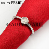 Wholesale Sterling Silver Blank Rings - Bulk of 3 Pieces Pearl Ring Semi Mount Findings 925 Sterling Silver Zircon Ring Blank Base