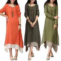 Wholesale Boho Gypsy Maxi Dress - Plus Women Boho Cotton Linen Blouse Long Sleeve Loose Gypsy Ethnic Maxi Dress For Girls Spring Autumn Tops Kaftan Clothing