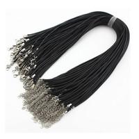 Wholesale 45 Diy Jewelry - Wholesale Fashion 200pcs lot Black Leather Wax String Necklaces Pendants Chains 1.5mm 45-50cm Jewelry DIY no Stones