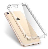iphone 5c cas de silicone achat en gros de-20pcs Silicone Clear TPU Case pour iPhone X 5 5S SE 5C 6S 6P 7 7P 8 8P plus ultra mince cristal dos protéger en caoutchouc téléphone couverture