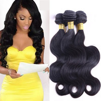Wholesale Dye Hair Weave - Brazlian Body Wave Human Virgin Remy Hair Weaves Natural Black Color Double Wefts Can Be dyed Blaeached 3pcs lot Unprocessed Hair Extensions