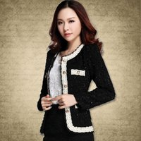 Wholesale Tunic Jackets For Women - 2017 New blazer women paillette formal blaser jacket for woman work wear plus size lady coat suits top tunic white,black S~XXL