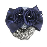Wholesale Netted Flower Hair Clips - Wholesale- New Blue Flower Bow Hair Clip Snood Net Barrette Bun Cover for Lady Women