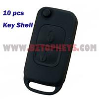 Wholesale Wholesale Benz Fob - 10PCS flip Car key shell remote key fob case 2button for Mercedes Benz E113 ACES W168 W202 W203 Folding key Replacement