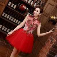 novos vestidos estilo romântico venda por atacado-Estilo chinês Vestidos de Noite Romântico Meninas Mulheres Vestido De Noiva 2017 New High Neck Bola Prom Party Homecoming Graduação Vestido Formal
