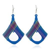 Wholesale Wooden Ethnic Earrings - wooden drop earrings colorful thread Bohemian Ethnic style retro earrings dangle wood drop stud earring women fashion jewelry blue green