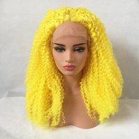 kinky cosplay toptan satış-Yeni Seksi Cosplay Sarı Renk Afro Kinky Kıvırcık Dantel Ön Peruk Isıya Dayanıklı Glikeli Sentetik Dantel Ön Peruk Siyah Kadınlar için