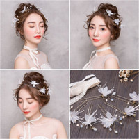 Wholesale Hair Band For Types - Woman headdress hair The bride for Korean small hairpin U hairpin type Ramon soft chain hair band pictures like headgear 1510905