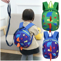 Barato Mochilas Para Meninos Meninos-Anti-lost Kids Backpack Cute Cartoon Dinosaur Animal Print Kids Mochilas para Meninos Girl Kindergaden School Backpacks KKA2802