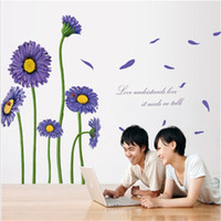 Wholesale Large Purple Wall Art - 60*90cm Wall Stickers DIY Art Decal Removeable Wallpaper Mural Sticker for Living Room Bedroom MJ8007B Purple Flowers