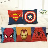 coussin de héros achat en gros de-Taie d'oreiller en lin The Avengers Iron Man Pillowslip Marvel Héros Spider Man Housse de coussin Accueil Textiles Simple Mode 6 5ph A R