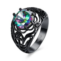 Wholesale Rainbow Vintage Rings for women Trendy Black Gold Plated Colorful Fashion Jewelry Hot Engagement Wedding Ring in CZ Diamond