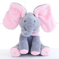 Wholesale Pink Animated - Bib Plush Musical Elephant Peek A Boo Pink Ears Plush Elephant Flappy Electrical Animated Elephant Toy for Kids Birthday