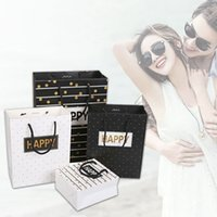 Wholesale Paper Gift Bag Large - Gift Bag Fashion Black White Paper Kraft Gift Bags Festival Supplies 3 Sizes 4 Styles To Choose Paper Gift Bags Large Size