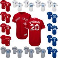 Wholesale Toronto 19 - 2017 Men's custom Baseball Jerseys Toronto Blue Jays 20 Josh Donaldson 19 Jose Bautista 2 Troy Tulowitzki 6 Marcus Stroman Flex Base Jerseys